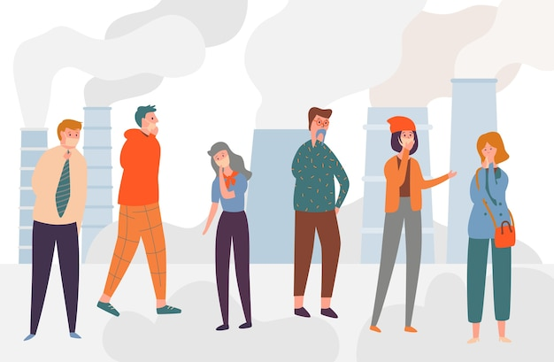 Luftverschmutzung industriesmog bad ecology city. traurige menschen, die eine schützende gesichtsmaske tragen, die auf straße gegen fabrikrohr geht, das rauch auf hintergrund emittiert. flache karikatur-vektor-illustration