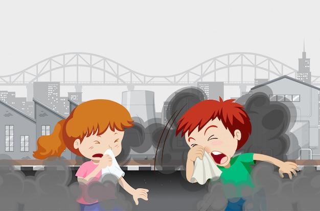 Luftverschmutzung mit kindern in der stadt