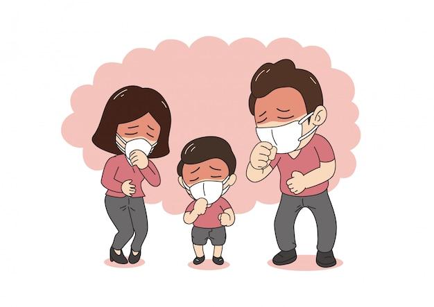 Luftverschmutzungskonzept kranke familie, die hustend und schutzgesichtsmaske gegen rauch auf hintergrund trägt