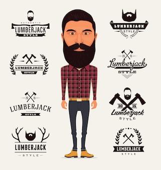 Lumberjack logo-vorlagen sammlung