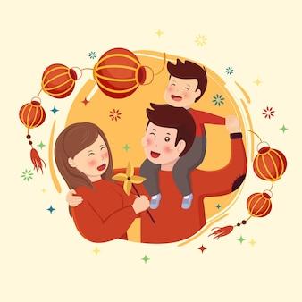 Lunar new year family mit laterne und feuerwerk