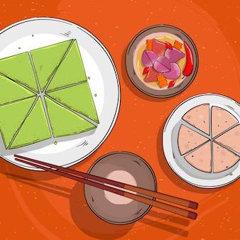 Lunar new year traditionelles essen