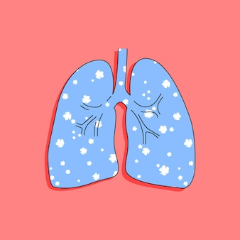 Lunge mit blumen im trendigen handgezeichneten stil