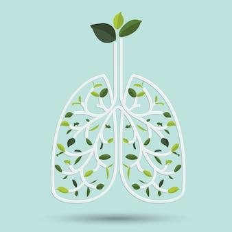 Lungen mit grünem blatt