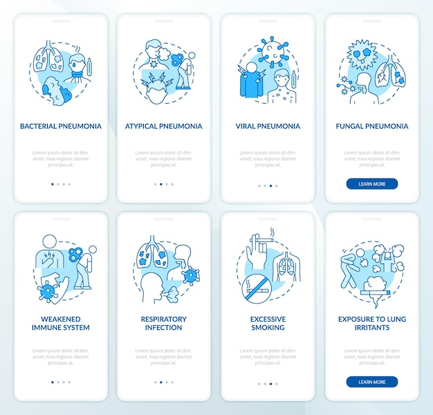 Lungenentzündung onboarding mobiler app-seitenbildschirmsatz