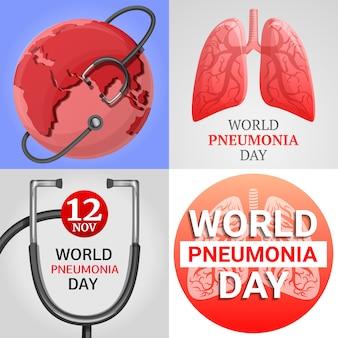 Lungenentzündungsfahnensatz. karikaturillustration der pneumonievektorfahne stellte für webdesign ein