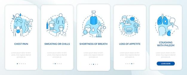 Lungenentzündungszeichen beim onboarding der mobilen app-seitenseite. kalter schweiß und schüttelfrost walkthrough 5 schritte grafische anweisungen mit konzepten. ui-, ux-, gui-vektorvorlage mit linearen farbillustrationen