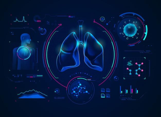 Lungenröntgen mit medizinischer schnittstelle