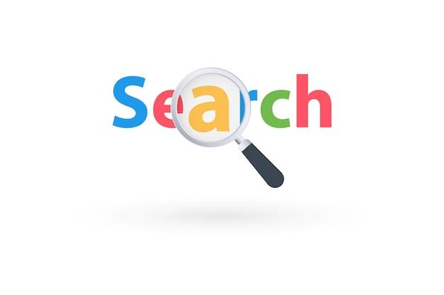 Lupe auf dem hintergrund einer mehrfarbigen inschriftensuche. lupe auf ein suchwort. suchsymbol