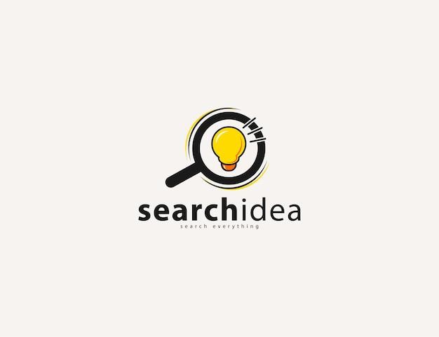 Lupe mit einer glühbirne in der logoillustration mit search idea-schriftzug