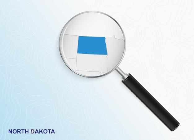 Lupe mit karte von north dakota auf abstraktem topografischem hintergrund