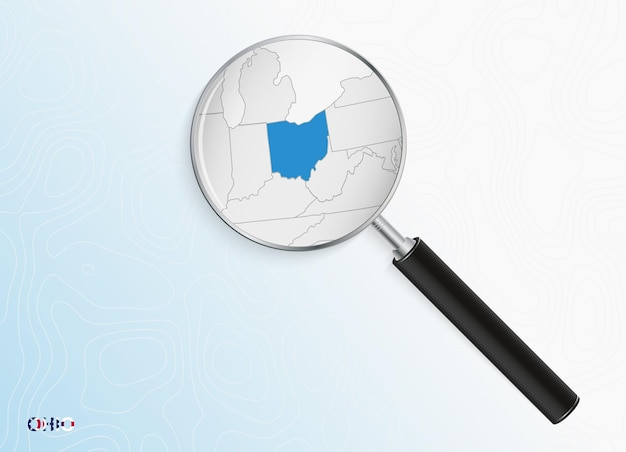 Lupe mit karte von ohio auf abstraktem topografischem hintergrund