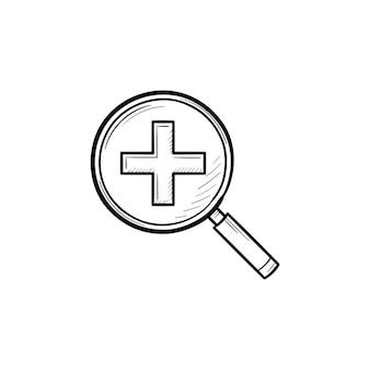 Lupe mit positivem pluszeichen im handgezeichneten umriss-doodle-symbol