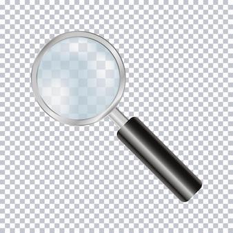 Lupe realistisch auf transparentem hintergrund isoliert. vektor-illustration.