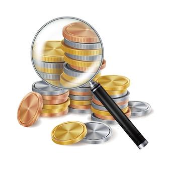 Lupe und münze