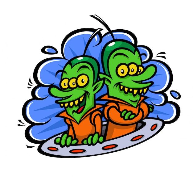 Lustige aliens in einem raumschiff.