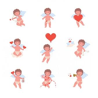 Lustige amor-engel-charaktere in verschiedenen posen für valentinstag