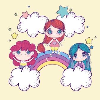 Lustige anime-mädchen auf regenbogen