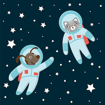 Lustige astronautenkatze und -hund im raum mit planeten und sternen. nette kosmische illustration für kinder auf blauem hintergrund