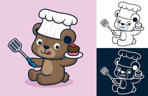 Lustige bärenkarikatur mit kochmütze beim halten von kuchen und spachtel