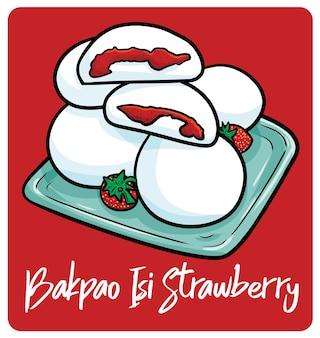 Lustige bakpao isi erdbeere ein traditioneller snack aus china