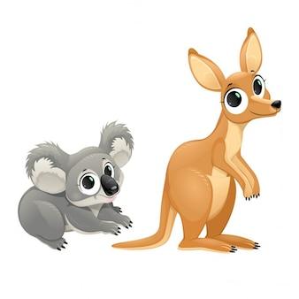 Lustige beuteltiere koala und känguru vector cartoon isoliert zeichen