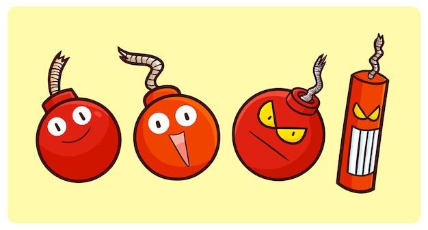 Lustige bomben- und dynamitfiguren-sammlung im einfachen doodle-stil