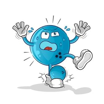 Lustige bowlingkugel-maskottchen-zeichentrickfigur