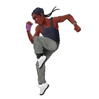 Lustige breakdancer vektor isoliert charakter