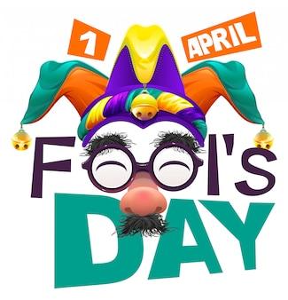 Lustige brillennase. april fools day schriftzugstext für grußkarte. 1. april narrentag