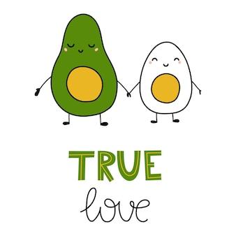 Lustige cartoon-ei und avocado mit schriftzug true love vector flache illustration