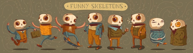 Lustige cartoon-skelette-vektor-set acht charaktere unter verschiedenen umständen sticker pack würdig