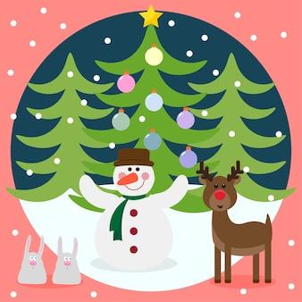 Lustige cartoon-winterferien mit niedlichen, glücklichen weihnachtsmann-kaninchen und sternen