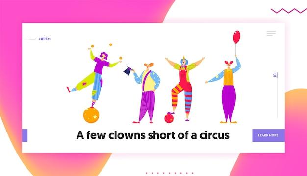 Lustige charaktere in kostümen für zirkusshow oder unterhaltung. karikatur-flachbanner