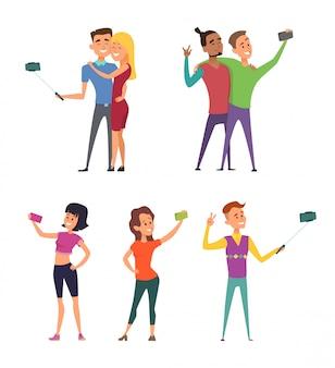 Lustige charaktere männlich und weiblich machen selfie. glückliche paare im cartoon-stil