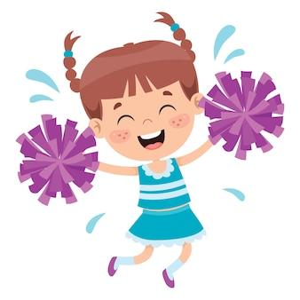 Lustige cheerleaderin, die bunte pompons hält