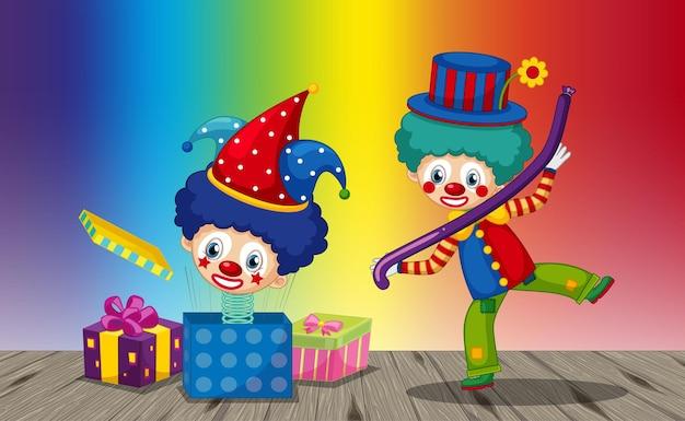 Lustige clown-cartoon-figur auf regenbogensteigungshintergrund