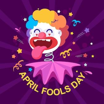 Lustige clown-flachillustration für fools day, aprilscherz-grußkarte