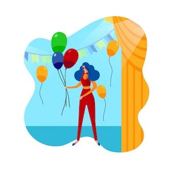 Lustige clown-weibliche figur im zirkus. kinderparty