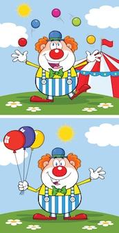 Lustige clownzeichentrickfigur