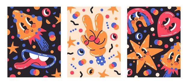 Lustige comic-emoji-charaktere cartoon-vektor-poster
