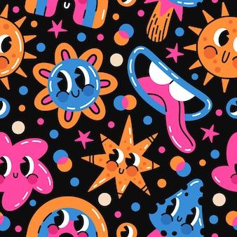 Lustige comic-emoji-doodle-zeichen abstrakter vektor nahtlose muster