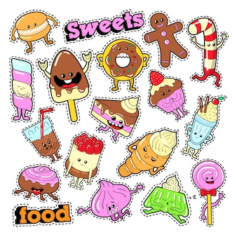 Lustige dessert-charaktere gesichts-emoji für abzeichen, aufnäher, aufkleber. vektor gekritzel