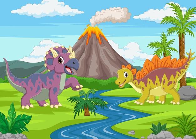 Lustige dinosaurier der karikatur im dschungel