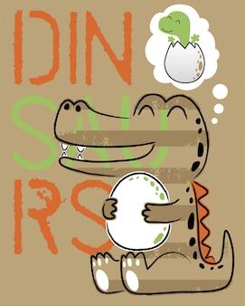 Lustige dinosaurierkarikatur mit seinem ei