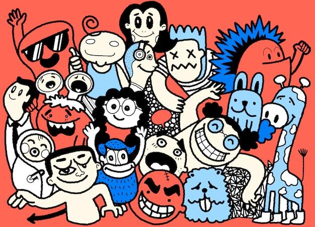 Lustige doodle leute set. hand gezeichnete illustration.