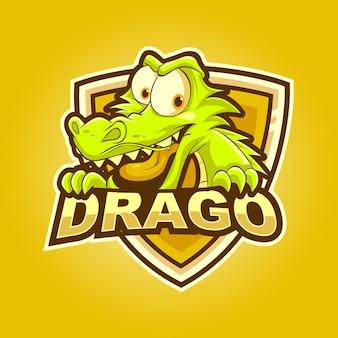 Lustige drachenkarikatur-maskottchen-esport-logo-vektorillustration
