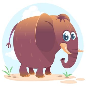 Lustige elefantillustration der karikatur