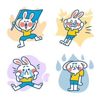 Lustige energetische kleine kaninchen-illustration