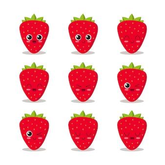 Lustige erdbeerensammlung
